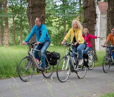 Vier Radfahrer auf der Grenzgängerroute